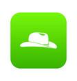 cowboy hat icon digital green vector image vector image