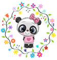 cute cartoon panda girl in a flowers frame vector image vector image