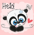 cute panda on a pink background vector image vector image