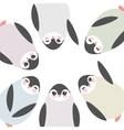 Funny penguins on white background card template vector image