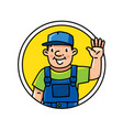 funny plumber repairman or worker emblem or icon vector image