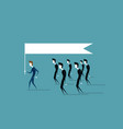 group of business people follow leader holding vector image vector image
