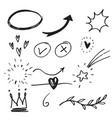 hand drawn set elementsarrow heart love star vector image vector image