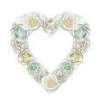 hand drawn white rose heart shape frame vector image vector image