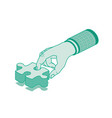 hand holding puzzle outline isometric concept vector image vector image