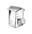 honey sketch bee hive with opened door vector image