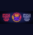 hot dog neon sign hot dog logo neon style vector image vector image