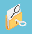 isometric key unlock folder with magnifying glass vector image vector image