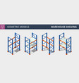 isometric set of storage shalving or rack vector image