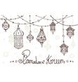 Lantern garland of Ramadan KareemDoodles greeting vector image vector image