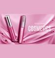 lip gloss and mascara tubes mockup promo banner vector image vector image
