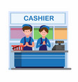 man and woman in uniform working in cashier counte vector image vector image
