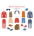 men s fashion set clothes and accessories vector image