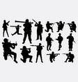 military soldier silhouette vector image vector image