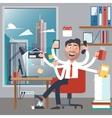 Multitasking Business Man at Work vector image vector image