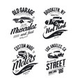 muscle car tee-shirt logo isolated set vector image