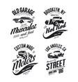 muscle car tee-shirt logo isolated set vector image