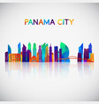 panama city skyline silhouette in colorful vector image vector image