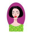 pleased woman with her eyes closed and bob haircut vector image