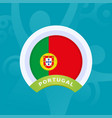 portugal flag european football 2020 tournament vector image
