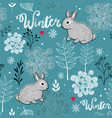 seamless winter pattern of frozen forest and small vector image