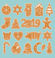 set gingerbread cookies stickers vector image