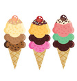 Set of flat ice cream cones Different favors and