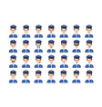 Set of policeman emoticon isolated on white vector image vector image