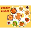 Spanish seafood and meat dishes icon vector image vector image