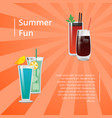 summer fun poster with bloody mary cocktail vector image vector image