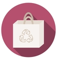 Trendy round eco recycle bag icon with long shadow vector image vector image