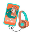 virtual music listening player internet ill vector image