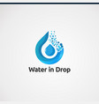 water in drop logo concept icon element and vector image