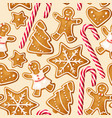 winter seamless patterns with gingerbread cookies vector image vector image