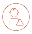 Worker with caution sign line icon vector image vector image