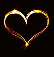 Abstract flare heart on dark background vector image