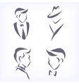 Collection of symbolic men faces vector image