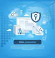 data protection template web banner with copy vector image