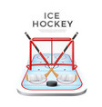 3d ice hockey crossed sticks with puck vector image vector image