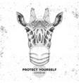 animal giraffe wearing face medical mask covid-1