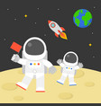 astronaut holding red flag walking on moon vector image