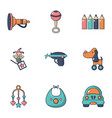 baby toys icons set flat style vector image vector image