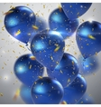 Blue balloons and golden confetti vector image vector image