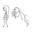cartoon beautiful young woman and amorous vector image