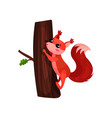 cartoon squirrel climbing up tree trunk small vector image