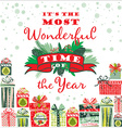 Christmas card with gift boxes vector image