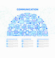 communication concept in half circle vector image vector image