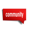 community red 3d speech bubble vector image vector image
