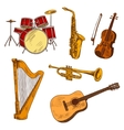 Concert musical instruments colored sketches vector image