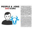 cow farmer icon with bonus vector image